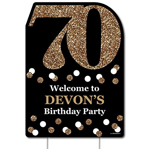 Big Dot of Happiness Custom Adult 70th Birthday - Gold - Party Decorations - Birthday Party Personalized Welcome Yard Sign