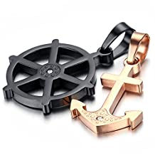 Mens Stainless Steel Pendant Necklace, Black, Rose Gold, Anchor, kp181