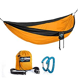 Double Parachute Camping Hammock by Youphoria Outdoors - Lightweight Nylon Compression Travel Hammock with Premium Wiregate Aluminum Carabiners - Straps Not Included