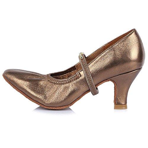 YFF Women's Genuine Leather Modern Latin Dance Shoes Tango 58mm heel 30515 tKGIa