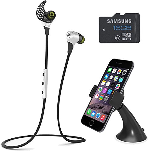 BlueBuds X Sport Bluetooth Headphones Mount & Memory Bundle - Storm White. Bundle Includes Bluetooth Headphones, iOttie Easy Smart Tap Dash Mount Holder, and Samsung High Speed 16GB microSD Class 6 Water/Shock Proof Memory Card