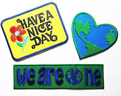 PP patch Set 3 Have A Nice Day patch , Love the Earth Heart patch , we are one patch DIY Applique Embroidery Iron on Patch (Earth Planet Patches)