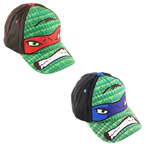 Nickelodeon Little Boys TMNT Leonardo or Raphael Cotton Baseball Cap, Age 4-7 (2 Piece Bundle Set - Leonardo & Raphael)