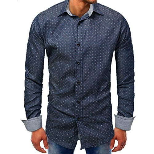 Mysky Men Denim Long Sleeve Blouse Point Print Beefy Tee Button Solid Shirt Top (Dark Blue, L) by My*sky Tops