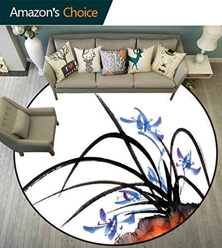 Asian Round Rug Liner,Classic Asian Oriental with Ink Painting Effect Orchid Artistic Design Artwork Anti-Static,Black Blue White,D-47