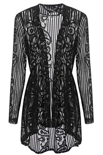 Beyove Women Long Sleeve Sheer Lace Crochet Open Front Cardigan Tops, Black2, (Lace Jacket)