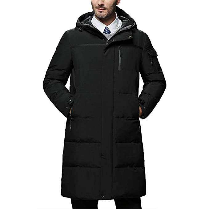 Raylans Mens Winter Quilted Warm Down Jacket Thick Hooded Mid-Long Puffer Coats
