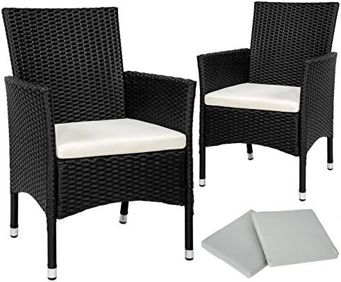 TecTake 2 x Ratán sintético silla de jardín set con cojines + 2 Set de fundas intercambiables + tornillos de acero inoxidable - disponible en diferentes colores - (Marrón mixto | No. 402123): Amazon.es: Jardín