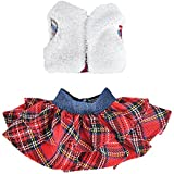 E-TING Santa Couture Clothing for elf (Fluffy Vest+ Plaid Skirt) Doll is not Included