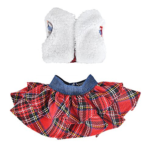 E-TING Santa Couture Clothing for elf (Fluffy Vest+ Plaid Skirt) Doll is not Included -