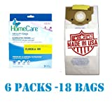 18 Fresh Breeze Eureka RR Upright Vacuum Bags, 6 Pks of 3 Bags. Proudly Made in USA