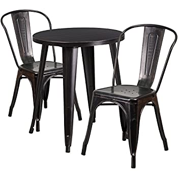 Amazon Com Flash Furniture Square Black Antique Gold