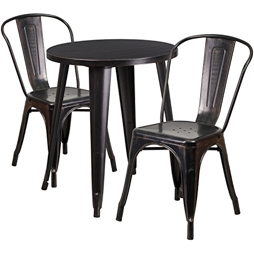 Flash Furniture 24'' Round Black-Antique Gold Metal Indoor-Outdoor Table Set with 2 Cafe - Round Metal Table Retro