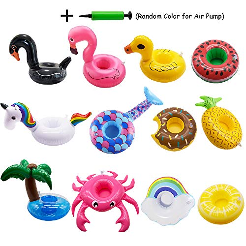 Xplanet Inflatable Drink Holders 12 Pack Unicorn Floats Inflatable Cup Coasters Holders for Summer Pool Party and Kids Water Fun Bath Toys (12 pcs Colorful) ()