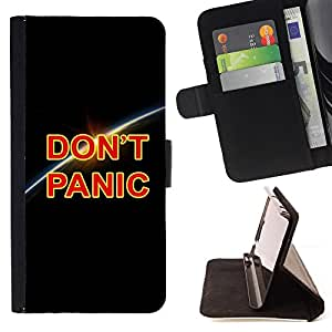 DEVIL CASE - FOR Sony Xperia Z1 Compact D5503 - Dont Panic Earth Planet Cosmos Universe - Style PU Leather Case Wallet Flip Stand Flap Closure Cover