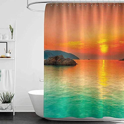 homecoco Shower Curtains for Bathroom Cotton Nature,Sunset Over The Sea Con Dao Vietnam Sunbeams Colorful Sky Reflection on Water,Orange Mint Green W48 x L72,Shower Curtain for Kids