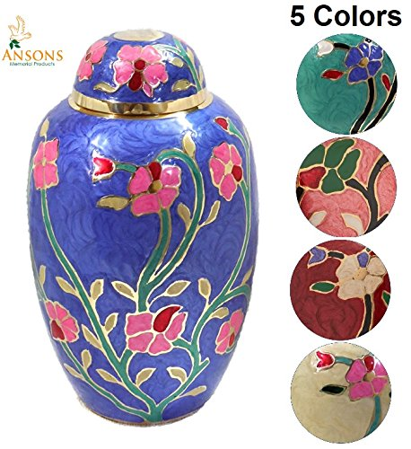 Ansons Urns Cremation Urn - Flower Funeral Urn for Human Ashes - Burial urn with lacquer finish - 100% Brass - Flora Blue ()