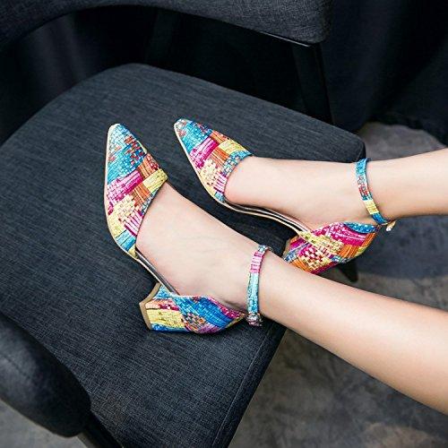 Toe De Sandals Verano De Heeled Cuadrícula JUWOJIA Hebilla Sandalias Señaló High Color Tobillo Blue Verano Sandalias De De C0w4Ow
