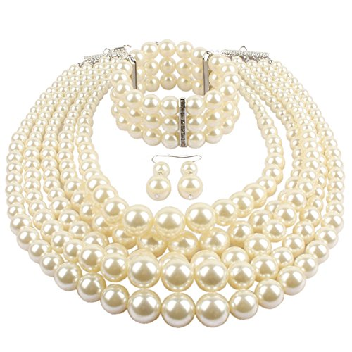 KOSMOS-LI Multi Layer Pearl Strand Necklace Bracelet And Earring Imitate Ivory Pearl Jewelry Set (Big Costumes Jewelry)