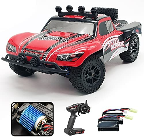 VOLANTEXRC RC Truck High Speed Remote Control Truck for Adults & Kids, 1:18 Scale 40 KM/H 2.4Ghz 4WD Off Road All Terrain Electric Car Short Course with Lights, 2 Batteries, Great Gift for Boy & Girl