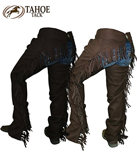 Tahoe Tack Western Amara Suede Show Full Chaps with Fringes, Brown, X-Large
