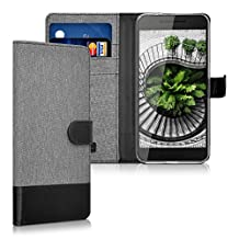 kwmobile Wallet case canvas cover for Huawei Google Nexus 6P - Flip case with card slot and stand in grey black