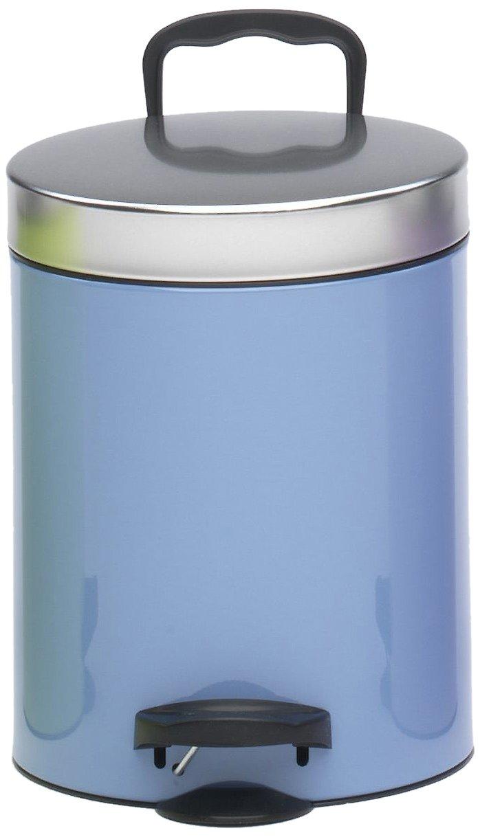 Meliconi Pattumiera a pedale 5 lt New Line Bicolor in lamiera litografata colore Azzurro, coperchio metallo banda stagnata e secchio in plastica. Made in italy 14005535501BA gettarifiuti