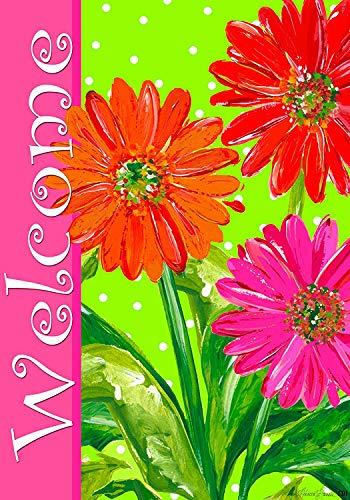 Colorful Welcome Daisy Polka Dot House Flag 28 x 40