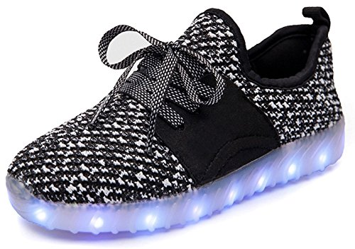 FG21ds21g LED Light-Up Kids Sport Shoes Sneakers for Valentine's Day Christmas Halloween(Black 5 M US Big Kid) ()