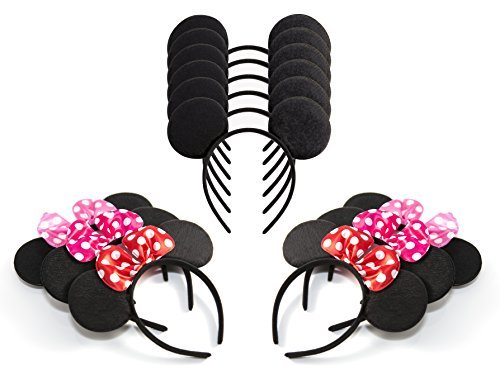 Pack of 12 Mickey Mouse Ears & Minnie Mouse Headband with Red, Pink and Rose Polka Dot Bow (Minnie Mouse Adult Outfit)