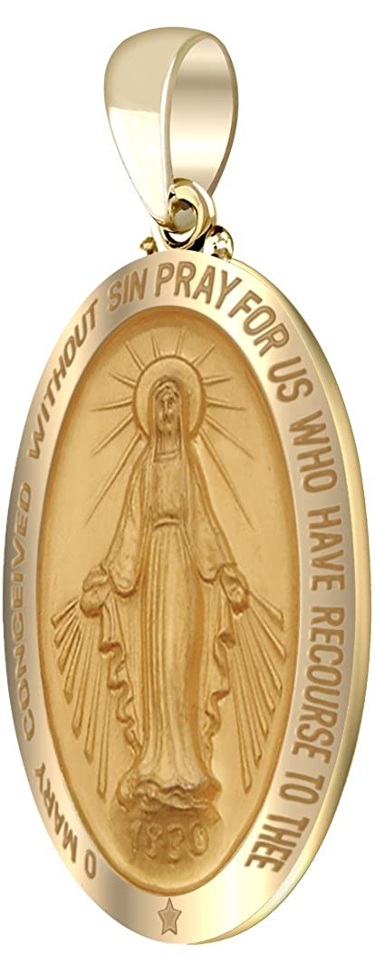 US Jewels And Gems New 14k Yellow Gold 1.25 Hollow Oval Miraculous Virgin Mary Polished Finish Pendant
