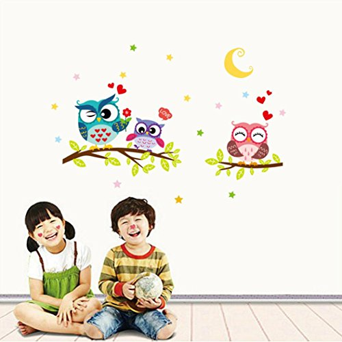 Quaant Wall Sticker,Cartoon Animals Removable Waterproof Cartoon Animal Owl Wall Sticker For Kids Rooms Home Decal Stick on Wall (Multicolor)