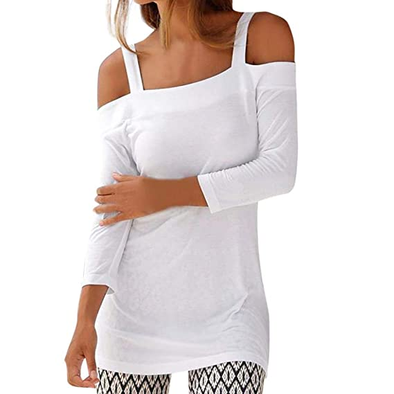 Mujer Otoño Moda Camisa del Hombro sin Tirantes Blusa sólidos Sudaderas Manga Larga Apretado Capa Hoodies