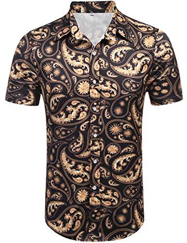Daupanzees Men's Short Sleeve Luxury Design Print Dress Shirt Casual Button Down Shirt for Party,Wedding,Banquet,Prom,Nightclub (Black L) from Daupanzees