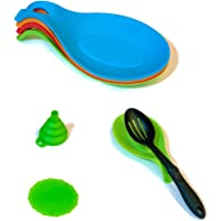 WillourGarbry Spoon Rest Silicone Set of 4 Includes Funnel and Coaster