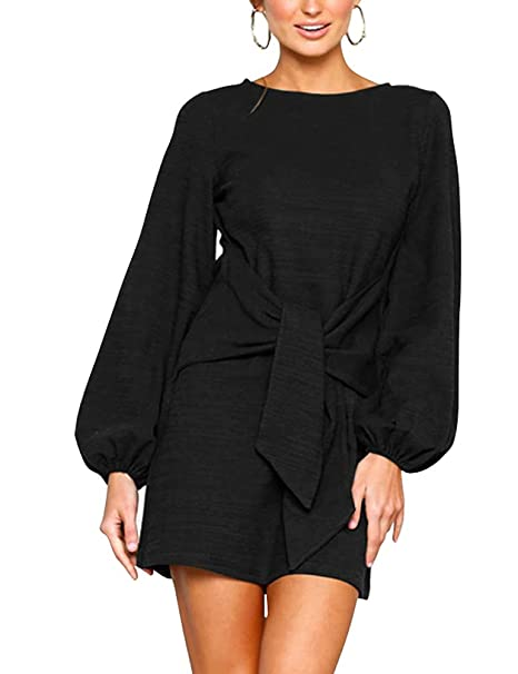 92068a09eec Women s Casual Crew Neck Tie Waist Elegant Long Sleeve T-Shirt Dress S Black