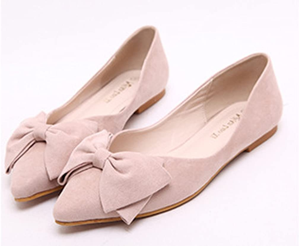 Womens Faux Suede Vintage Bowknot Casual Pointed Toe Slip On Flats Pumps Loafers Shoes Size 4-10.5