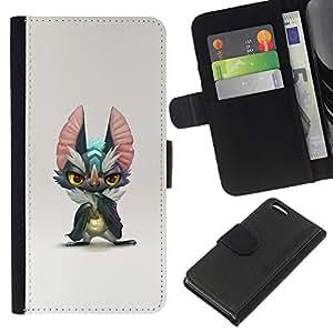 ZCell / Apple Iphone 5C / Cute Monster Big Ears Grey Cartoon Art / Caso Shell Armor Funda Case Cover Wallet / Lindo Monster Big Orejas Gris Histo