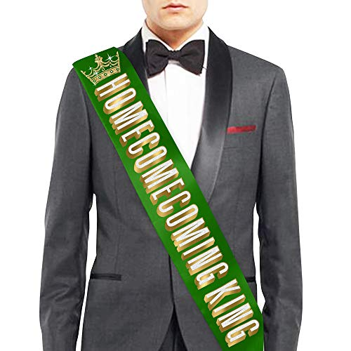 Homecoming King with Crown on Green Premium Satin Sash - Homecoming Decorations & Supplies - Green