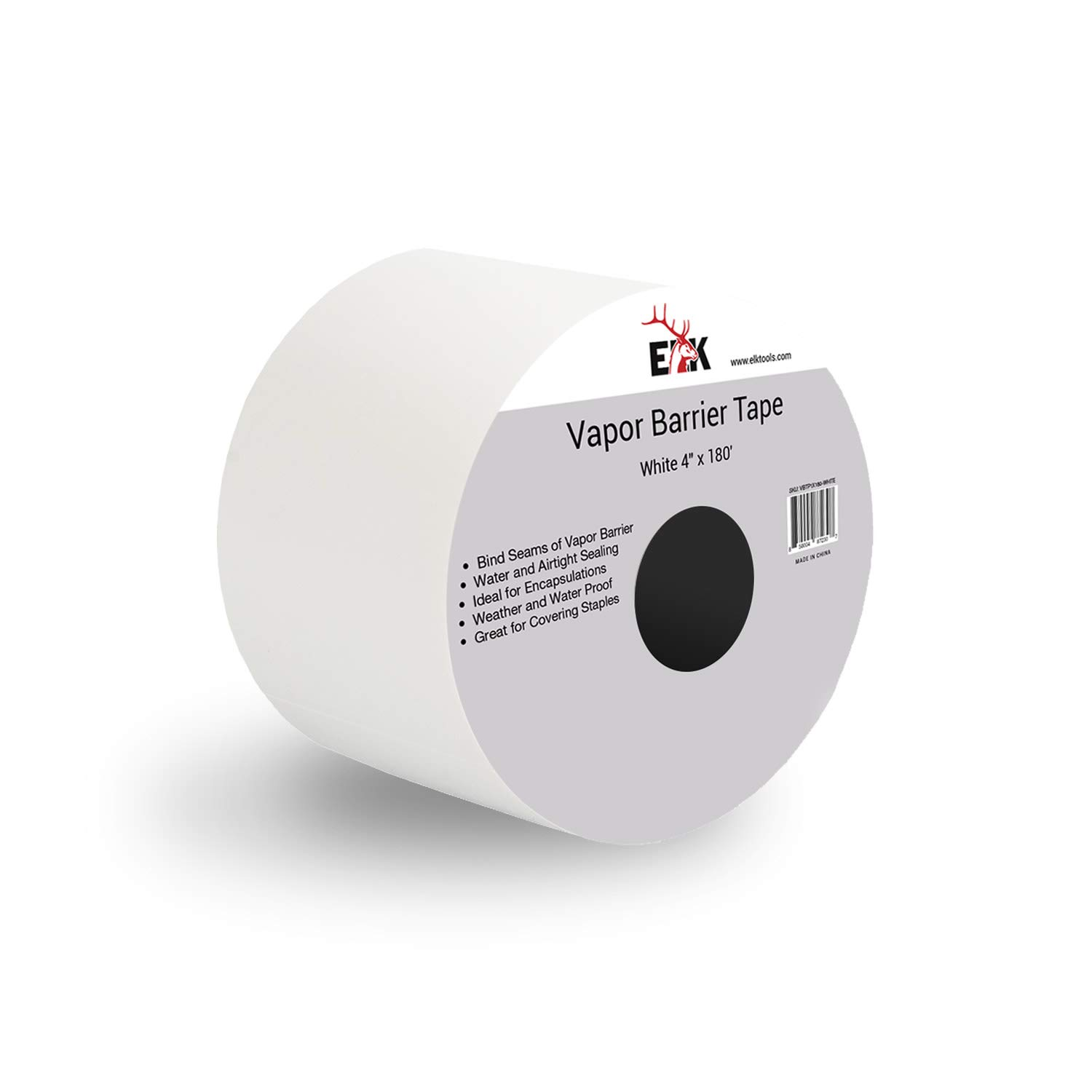 Vapor Barrier Seam Tape 4'' x 180' - Wall and Floor Liner for Crawl Space Moisture Barriers, Encapsulations, Carpet Padding, Stucco Applications and More (White)