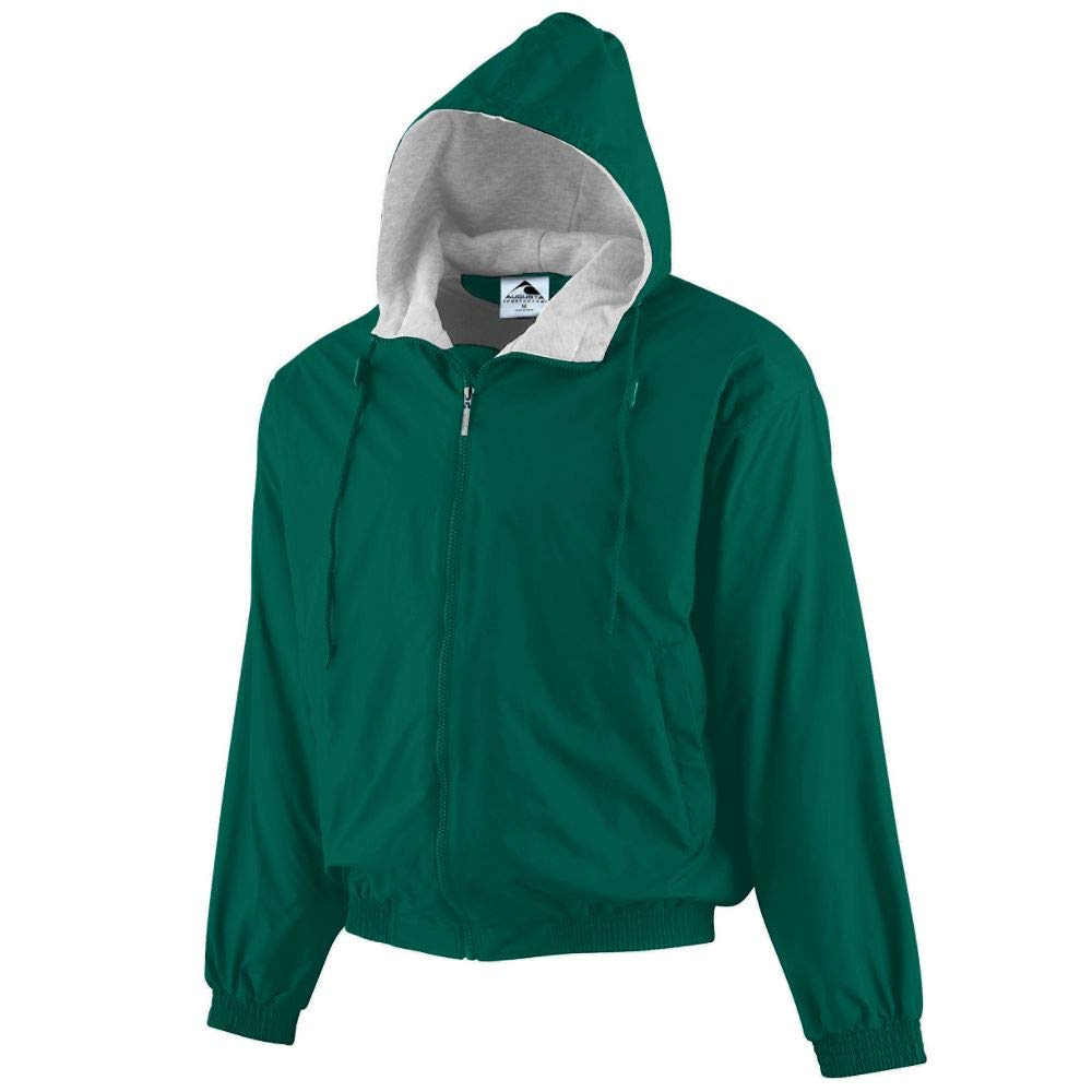 Augusta Sportswear Boys' Hooded Taffeta Jacket/Fleece Lined S Dark Green