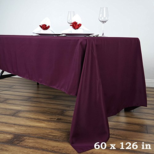 LinenTablecloth 60 x 126-Inch Rectangular Polyester Tablecloth Eggplant