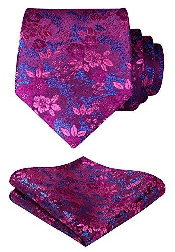 HISDERN Extra Long Floral Paislry Tie Handkerchief Men's Necktie & Pocket Square Set (Hot Pink & Blue)