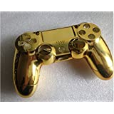 Replacement Chrome Plating Housing Shell Parts Case Kit Cover for PS4 Controller DualShock 4 Color Gold