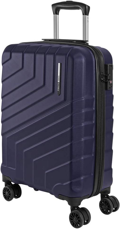 Maleta de Mano Rigida - Aprobada para Ryanair y Easyjet 55x40x20 cm - Equipaje de Cabina Ligero ABS - Trolley de Viaje Cerradura TSA y 4 Ruedas Dobles Multidireccionales - Perletti Travel (Azul, S)