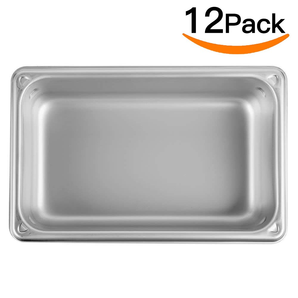 Stainless Steel Steam Table Pan 1/4 Size,MIXRICE A2142 Stainless Steel Steam Table pan 2'' Deep and 12 Pieces Per Carton Buffet Food Pans food pan Pack of 12 by ATOSA US