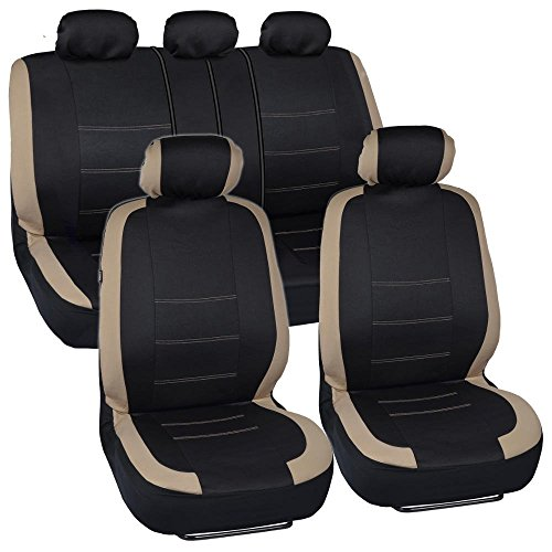 (BDK Venice Series Car Seat Covers for Auto - Beige Stripes on Flat Black Cloth - Universal Fit 9)
