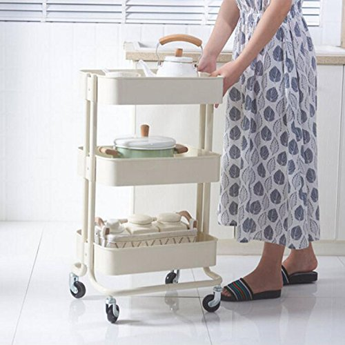HQQ Three-tier trolley with wheels living room kitchen bathroom sundries household storage removable metal Lasker racks
