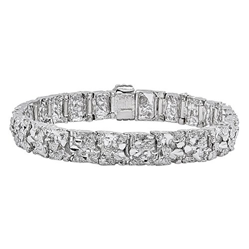 "Thick 11mm Wide Rhodium Plated Chunky Nugget Textured Link Bracelet, 9"" + Jewelry Polishing Cloth"