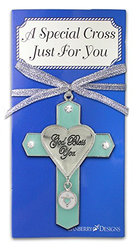 Elegant Jeweled Charm - BANBERRY DESIGNS God Bless You Jeweled Hanging Ornament Cross with Charm Metal 3